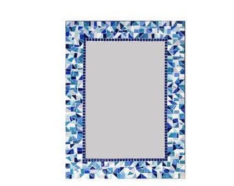 Large Wall Mirror in Blue, Gray, and Aqua Glass