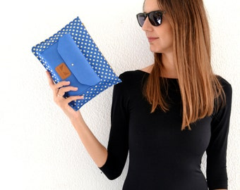 Blue leather clutch / Leather clutch purse / Blue leather purse / Blue wrislet clutch / Blue leather pouch / Evening leather bag