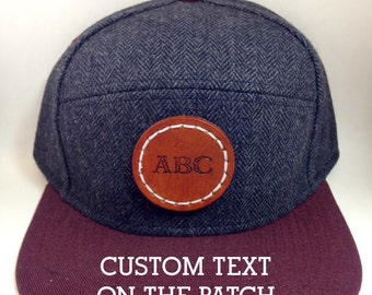 Custom Personalized Snap Back Baseball Hat Cap with Leather Patch, Snapback One size fits all Herringbone and Maroon hat