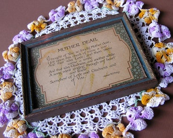 Vintage c1930s Framed Motto, Mother Dear by James W. Foley, PF Volland Co,
