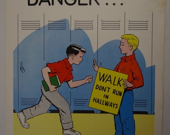 Vintage 1961 School Health Poster | Intermediates Grades - Set 2 | Walk Don't Run In Hallways  | Hayes School Publ | By Helen S. Hansen