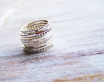 Sterling Silver Stack Ring Set, Hammered Stack Rings, Knuckle Rings, Boho Stack Rings, Festival Rings, Silver Boho Rings