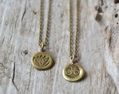 Tiny om necklace, lotus yoga jewelry, gift for her, brass ohm necklace, spiritual jewelry, Christmas gift