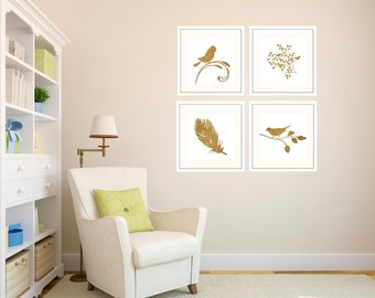 Digital Bird Decor feather Art Gold Faux Foil Art Gold foil leaf Branch art Home Office Decor Minimalist Decor Wall Art Whimsical Home Decor