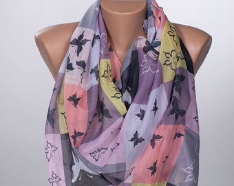 Soft Colors and Butterflies Scarf wrap. Neck wrap. Women wrap. New season. Summer long scarf.