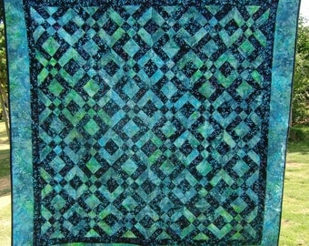 Modern Batik Throw Quilt, Sea Turtles Quilt, Beach House décor, Ocean Lap Quilt, Gender Neutral, Dorm Decor, Teal and Black, Gift For Him