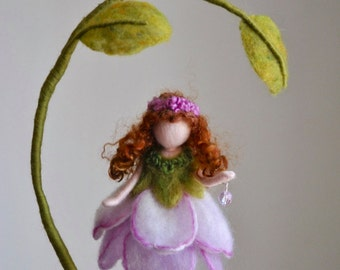 Purple Flower Fairy Nursery Mobile Waldorf inspired  Needle Felted : Fairy in the Branch