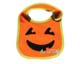 My First Halloween Embroidered Pumpkin Bib Personalized with Baby Name - Jack-O-Lantern Costume, Jack O Lantern Outfit