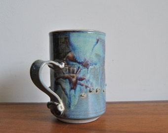 Kayo O'Young Mug Canadian Studio Pottery 1981 in Blue and Purple