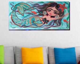 30% Off FRIDA KAHLO Mermaid Print Cat Canvas Gallery Wrap Mexican Folk Art Dorm Corporate Art Painting Poster Home Decor Wall Art Giclee