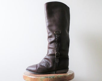 80s Leather Riding Boots BROWN Flat Knee Length Christina Designer Women US Size 7 Euro 37.5