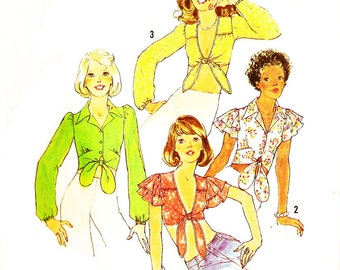 Simplicity 6901 Retro 1970s Midriff Front Tie Tops with Sleeve Options Sewing Pattern Sz 10