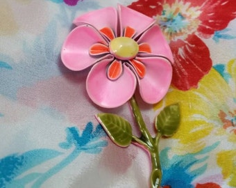 Pink Yellow Green SPRING Colorful FLOWER Pin Brooch 1960's Vintage