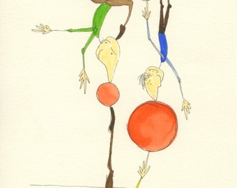 Acrobatic Joyfulness - original illustration for the young at heart