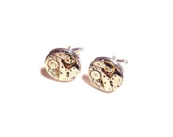 Genuine watch cufflinks steampunk crystals silver plated cuffs cogs gears geek wedding best man fathers day