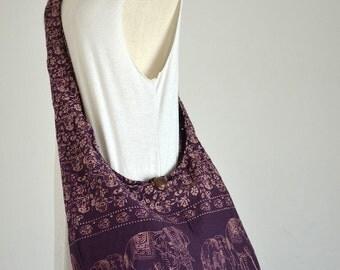Elephant Bag Hippie Hobo Bag Sling Crossbody Bag Boho Bag Shoulder Bag Messenger Bag Cotton Bag Purse Tote Bag Handbags, Red Violet