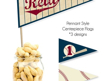 Printable Vintage Baseball Pennant Style Centerpiece Flags
