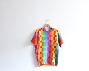 Graphic Rainbow Check 80s Sweater