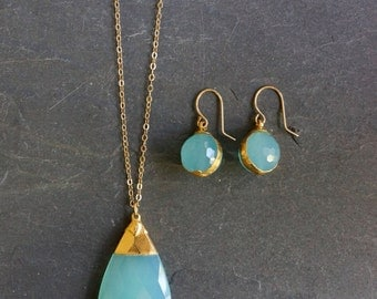 Aqua Chalcedony // Aqua Chalcedony Necklace // Chalcedony Earrings // Chalcedony Necklace // Gold Chalcedony // Necklace & Earring set