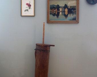 1800s Antique Butter Churn Primitive Hornbeam Hollowed Log Dasher