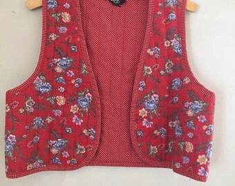 1970s Red Floral Stevie Bohemian Vest