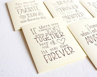 Set of 5 Winnie the Pooh quote cards, handmade cards set, love quotes anniversary card girlfriend gift for her/birthday party favor for kids