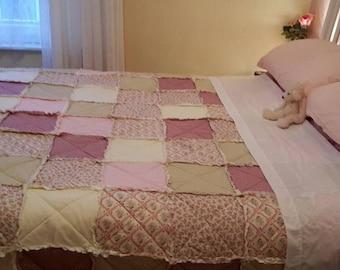 Rag blanket, patchwork blanket, king size bedding, patchwork bedding, patchwork throw, handmade bedding, handmade blanket