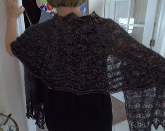 Beaded Evening Fashion Shawl, Stole, Shoulder Wrap Hand Knit One of a Kind