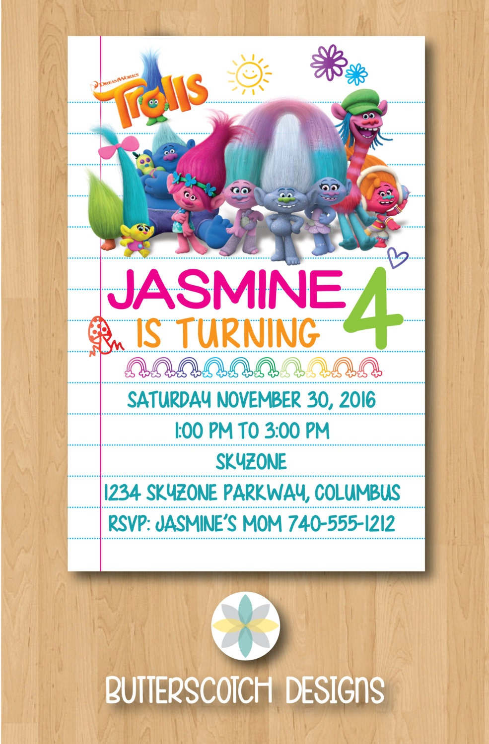This is a picture of Sizzling Trolls Birthday Invitations Printable