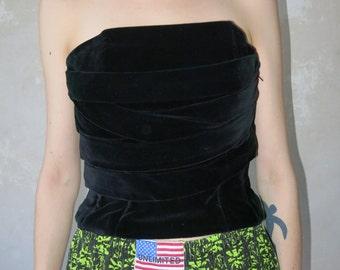 Marie Pierre Tattarachi Paris VELVET black bustier top vtg size S