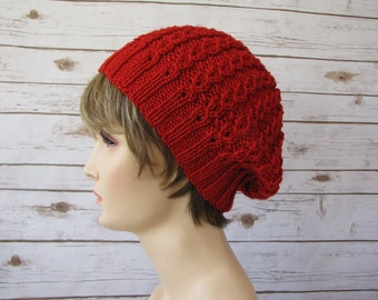 Red Slouchy Beret - Super Soft Red Tam - Light Lacy Cabled Beret - Soft Sparkly Red Hat - Glittery Red Beret - Fun Girly Hat