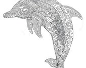 Printable Dolphin Coloring Page for Adults