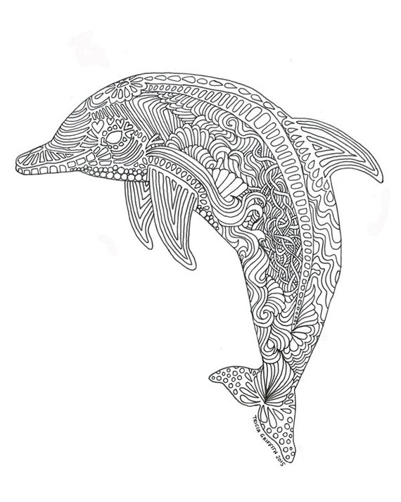 Items similar to Printable Dolphin Coloring Page for ...