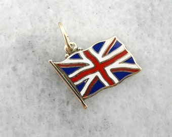 Long Live the Queen: Union Jack Enameled British Flag Charm or Pendant  RNEUHY-D