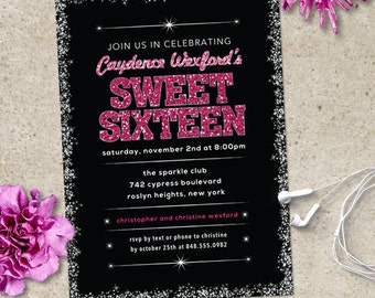 Sparkling Edge Glitter Look Sweet 16 Party Invitation, 8 color options, Printable, Evite or Printed Invitations