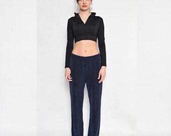 Vintage 90's Metallic High Waist Pants / Sparkling Black Blue Pants - Size - Large