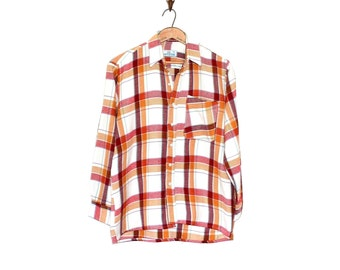 Vintage Plaid Shirt - 70s Plaid Long Sleeve Retro Men's Shirt - Outdoorsy Grunge Woodsman Plaid Shirt - Vintage Work Shirt
