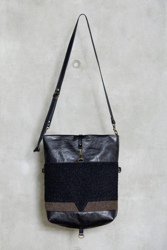 VANDA - leather and wool messenger bag, foldable -  black & khaki