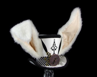 The White Rabbit –Black and White Clockwork Bunny Eared Mini Top Hat, Alice in Wonderland Mad Hatter Tea Party