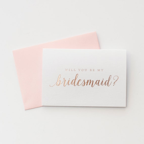 Rose Gold Foil Will You Be My Bridesmaid card bridesmaid proposal bridal party card bridesmaid card pink foil bridesmaid invitation gift box