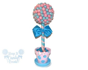 Pink and Blue Lollipop Gender Reveal Centerpiece, Candy Topiary for Baby Shower, Gender Reveal Centerpiece, Pink and Blue, Unique Ideas