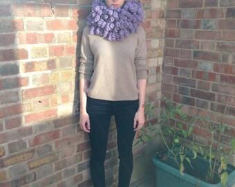 Hand Crochet Lilac Spiral Scarf 100% Wool