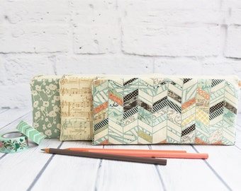 "Zippered Pouch, 9"" x 4"" Pencil Case, Watercolor Collection - Chevron Cosmetic Bag, Music Accessory Pouch, Floral Toiletry Bag, Gadget Pouch"