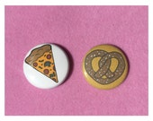 """Pizza Pretzel Cute Button Pack 1"""" Hand Drawn Junk Food Buttons - Hand Drawn Colorful Hipster Fast Food Buttons Pins - Food Buttons 2 Pack"""