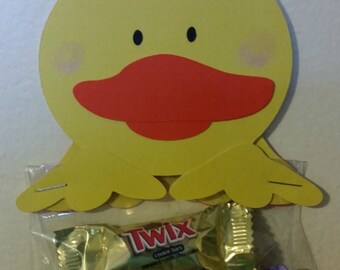 Duck candy bag topper, set of 12 candy bag toppers, goodie bag toppers, paper pieced candy bag topper
