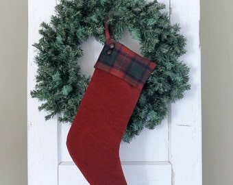 Red Velvet Christmas Stocking with ButtonTrim