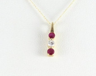 10K Yellow Gold Ruby Necklace 18 inch chain