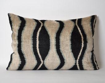 Black Velvet Ikat Pillow Cover 16x24 Ikat Pillows Velvet Lumbar Cream And Blackish Pillows Living Room Pillow Decorative Throw Accent Pillow