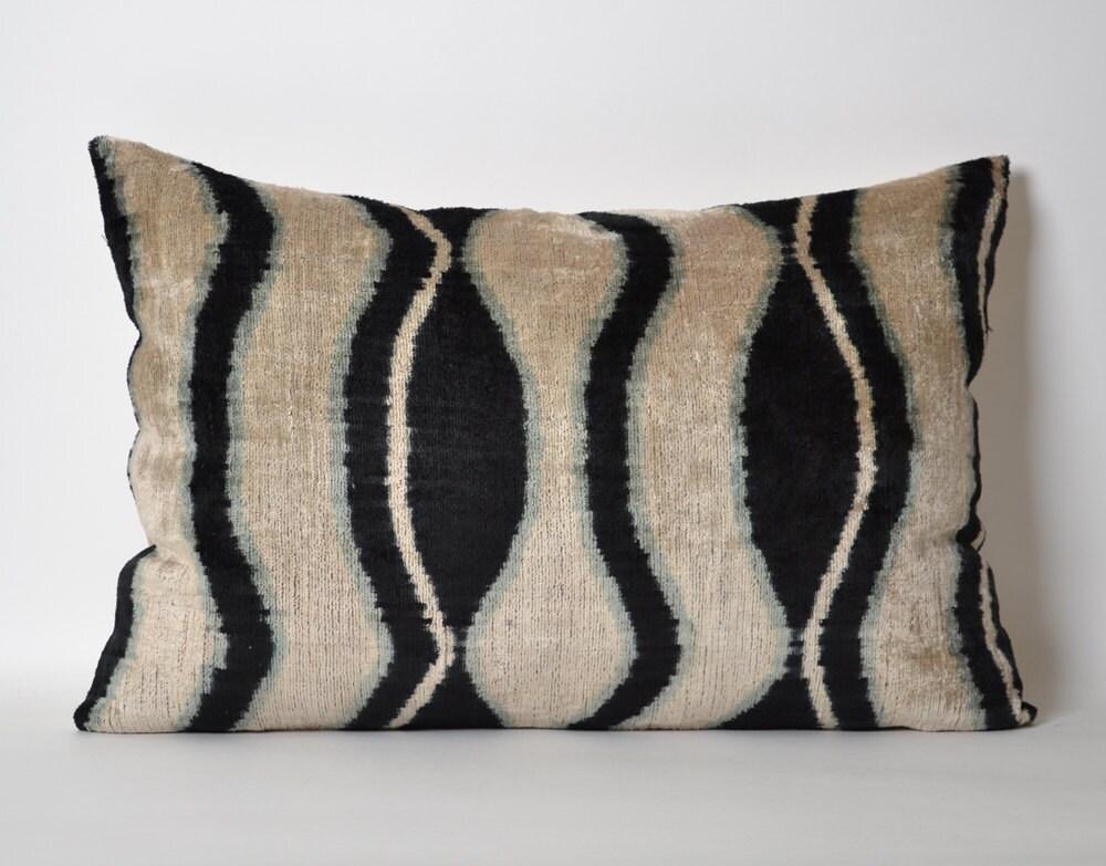 Black Velvet Ikat Pillow Cover 16x24 Ikat Pillows by pillowme