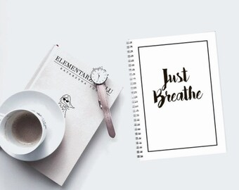 Just Breathe - Geek - Chic -  spiral notebook Pocket Journal Jotter, book lover Gift, calligraphy